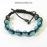 Браслет c Кристаллами плетеный Голубой