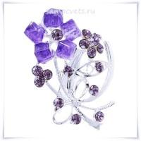 Брошь буекет Фиолетовые Кристаллы