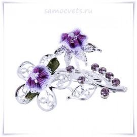 Брошь текстиль и Кристаллы Фиолетовый буекет