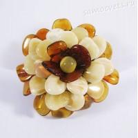 Брошь - Кулон из натурального янтаря на текстильной основе - Цветок 40 мм