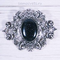 Авантюрин искусств. синий - брошь винтажный узор с кабошоном 18х25 мм