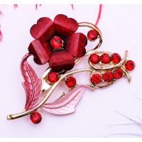 Брошь Красные Кристаллы цветок