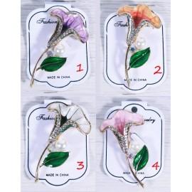 Брошь кристаллы Цветник - 5