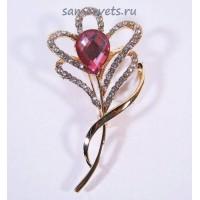Брошь Розовый цветок Кристаллы