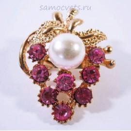 Брошь Розовые Кристаллы гроздь