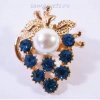 Брошка Синие Кристаллы гроздь