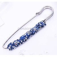 Брошь-булавка серебристо-синие кристаллы