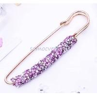 Брошь-булавка серебристо-розовые кристаллы