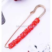 Брошь-булавка красные кристаллы