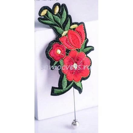 Брошь - булавка вышивка красный цветок