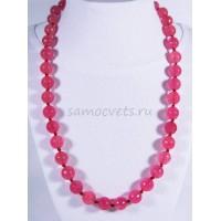 Бусы из розового (цвет клубничного кварца) агата огран. Радуга самоцветов 10