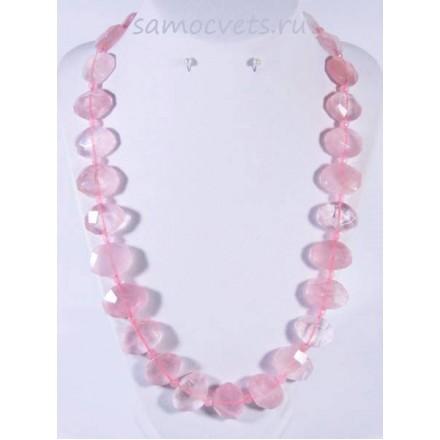 Бусы из Розового кварца крупные плоские бусины огран.