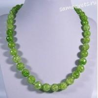 Бусы сахарный кварц синтетический ярко -  зелёные 46 см 10 мм
