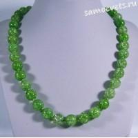 Бусы сахарный кварц синтетический тёмно -  зелёные 46 см 10 мм