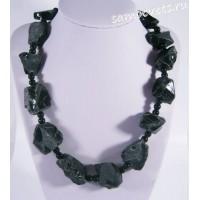 Бусы чёрный агат - Необработанный камень