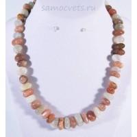 Бусы натуральный Разноцветный Лунный камень галтовка мятый шар 6-15 мм