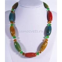 Разноцветные бусы из керамики и хрусталя