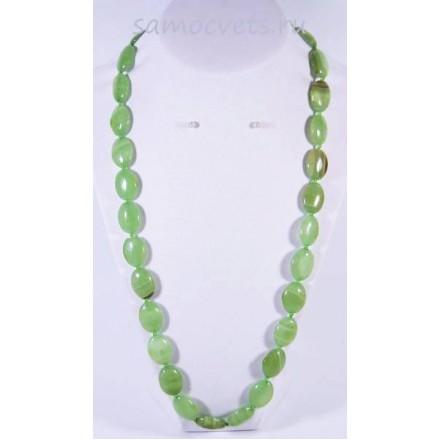 Бусы зелёный оникс Пальмира 60 см