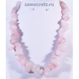Бусы из природного камня Розовый кварц Крошка крупная