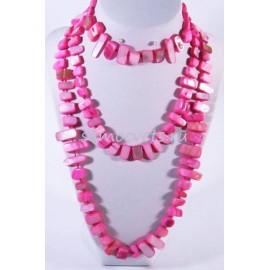 Бусы из Перламутра Естество Ярко - Розовые