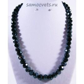 Хрустальные бусы Классика - 10 Чёрные с напылением (Гематит)