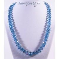 Хрустальные бусы Классика - 10 Светло - Синие с напылением