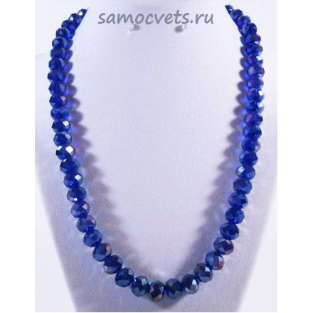 Хрустальные бусы Классика - 10 Тёмно - Синие с напылением