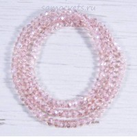 Бусы из хрусталя шар огран. 6 мм 50 - 52 см светло - розовые
