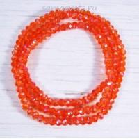 Красно - оранжевые бусы из хрусталя шар огран. 4 мм 50 см