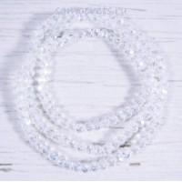 Белые бусы из хрусталя шар огран. 4 мм 50 см