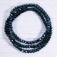 Чёрные (под гематит) бусы из хрусталя шар огран. 4 мм 50 см