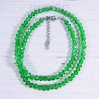 Бусы из хрусталя шар огран. 6 мм 50 - 52 см - зелёные