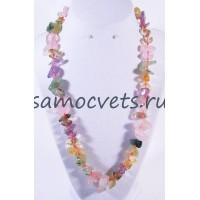 Бусы из Самоцветов полированные камни (Розовый кварц Цитрин Аметист)