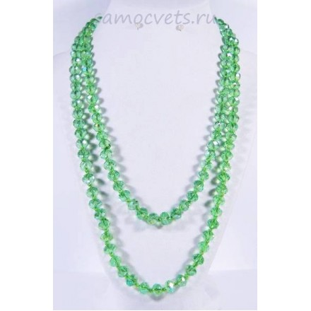 Бусы зелёный хрусталь с напылением (цвет хризолит) 110 см