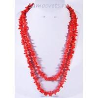 Длинные Бусы Красный Коралл тонированный - веточки 115 см