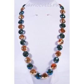 Разноцветные бусы из циркона 14 мм 60 см (сине - оранжевые)