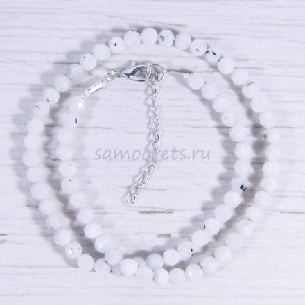 Бусы из натурального Лунного камня шар огран. 5,5 мм