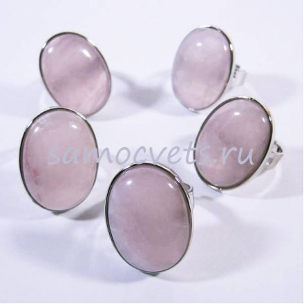 Камень розовый кварц кольцо