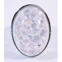 Кольцо Перламутровая крошка в стекле Белое