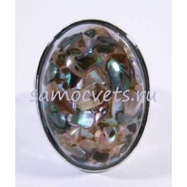 Кольцо Радужная Перламутровая крошка в стекле