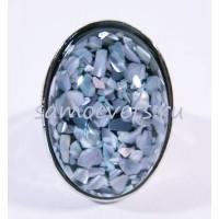 Кольцо Перламутровая крошка в стекле Голубое