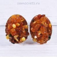Кольцо из Янтарной крошки - склейка кабошон 18х25 мм