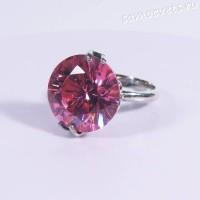 Кольцо с розовым фианитом 15 мм