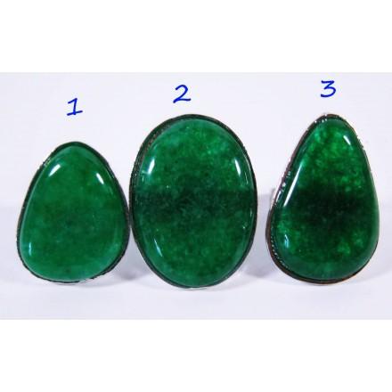 Большое кольцо кварц тонированный Зелёный