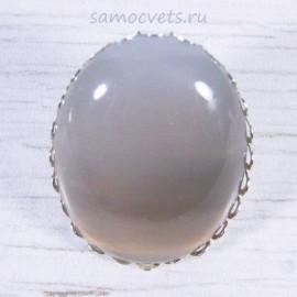 Перстень с серым агатом 30х40 мм