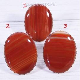 Перстень оранжевый агат большой камень 30х40 мм