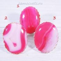 Большой перстень с розовыми агатами 30х40