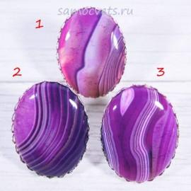 Перстень Фиолетовый агат большой камень