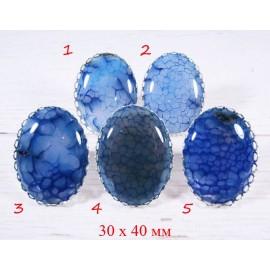 Большое кольцо Синий Агат 30х40 мм - 2