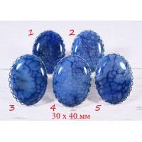 Большое кольцо Синий Агат 30х40 мм - 3